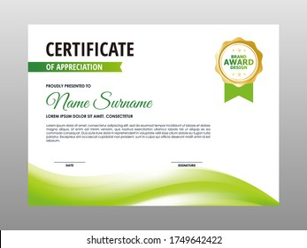 Abstract Smooth Green White Wave Certificate Design, Professional Modern Certificate Template Vector