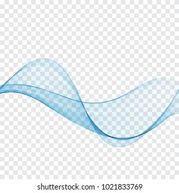 Abstract smooth wave color vector.Flow curve of the blue wave.Vector lines.Water or smoke design.