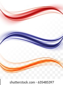 Abstract smooth waves collection in blue orange red colors and dynamic soft elegant style on transparent background. Vector illustration