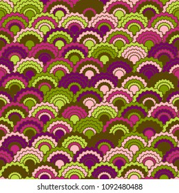Abstract snake skin scales squama background, vector seamless fabric pattern, tiled textile print. Classic japanese squama scales seamless arc tiles ornament. Roof pattern.