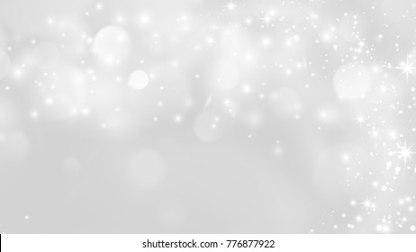 Abstract Snow Flake with Bokeh Sparkling blurred White and Gray Vector Backgrounds
