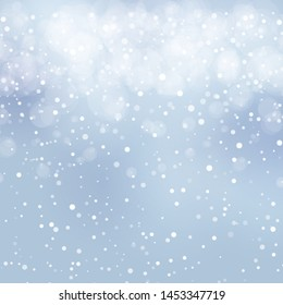 Abstract snowy winter background. Festive vector abstract backdrop with snowfall