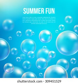 Abstract soap bubbles vector background. Transparent circle, sphere ball, water sea and ocean pattern illustration