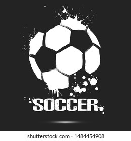 Abstract soccer ball for design logo, emblem, label, banner. Football template on isolated background. Grunge style. Vector illustration