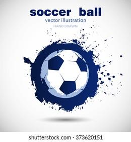 Abstract soccer ball grunge. Logotype design. Vector illustration.