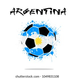 Abstract soccer ball painted in the colors of the Argentina flag. Vector illustration