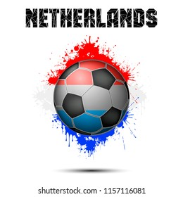 Abstract soccer ball painted in the colors of the Netherlands flag. Vector illustration