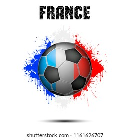 Abstract soccer ball painted in the colors of the France flag. Vector illustration