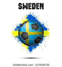 Abstract soccer ball painted in the colors of the Sweden flag. Vector illustration