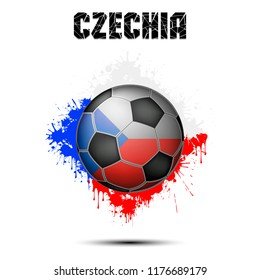 Abstract soccer ball painted in the colors of the Czechia flag. Vector illustration