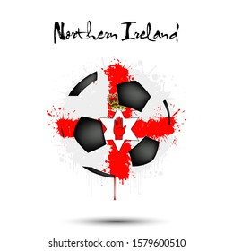 Abstract soccer ball painted in the colors of the Northern Ireland flag. Flag of Northern Ireland in the form of a soccer ball made of blots on an isolated background. Vector illustration