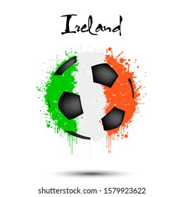 Abstract soccer ball painted in the colors of the Ireland flag. Flag of Ireland in the form of a soccer ball made of blots on an isolated background. Grunge style. Vector illustration