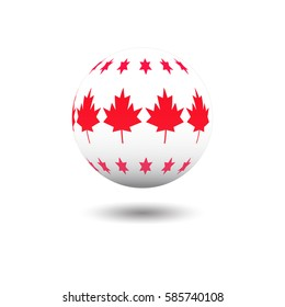 Abstract soccer ball with star and the Maple leaf   pattern print, isolated on white, element for design, vector illustration