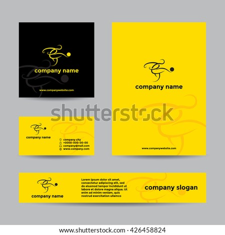 Abstract soccer player logo. Vector branding set of banners and business card.
