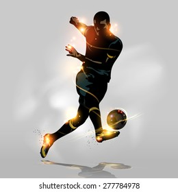 Abstract soccer player quick shooting a ball