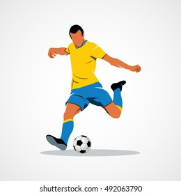 Abstract soccer player quick shooting a ball. Branding Identity Corporate vector logo design template Isolated on a white background. Vector illustration.