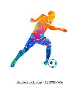 Abstract soccer player running with the ball from splash of watercolors. Vector illustration of paints.