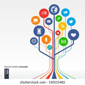 Abstract social media background with lines, circles and icons. Growth tree concept with earth, network, computer, technology, like, mail, mobile and speech bubble icon. Vector illustration.
