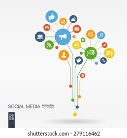Resumen de los antecedentes de los medios sociales con líneas, círculos conectados, iconos planos integrados. Concepto de flor de crecimiento con red, computadora, tecnología, icono de burbuja de voz. Ilustración interactiva del vector