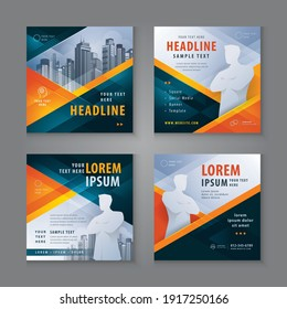 Abstract Social Media Banner Template Collection, Square Template Social Media Post Design for Digital Marketing, Black and red Geometric Triangle Background. Modern square header web banner profile.