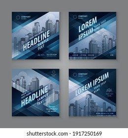 Abstract Social Media Banner Template Collection, Square Template Social Media Post Design for Digital Marketing, Abstract Black Geometric Triangle Background. Modern square header web banner profile.
