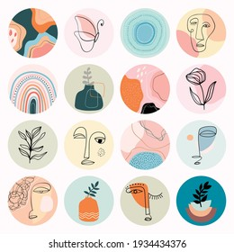 Abstract social media highlight covers, modern minimalist design, line art different human faces