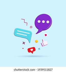 Abstract social media and technology with modern trendy color icons 3d vector illustration. - Shutterstock ID 1939511827