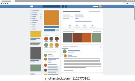 Abstract social network page screenshot