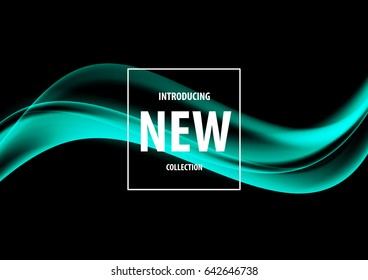 Abstract soft art design template with turquoise smooth elegant wavy lines in dynamic style on dark background. Vector illustration