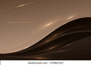 Abstract soft brown color background with gold lines