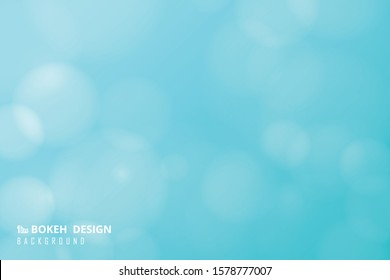 Abstract soft light blue sky of gradient bokeh with circles white decoration background. Decorate for artwork, template, ad, brochure. illustration vector eps10