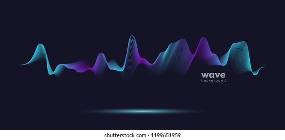 Abstract sound motion wave. Pattern gradient line background. Vector graphic eps 10