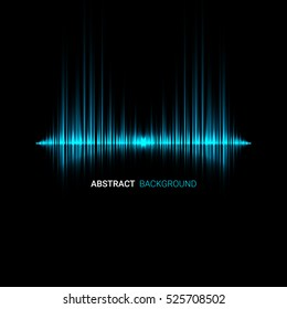 Abstract sound wave background. Blue light background.