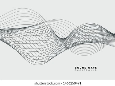 Abstract sound wave music. Digital audio soundwave form equalizer. Stereo pulse voice frequency. Vibration frequency with wave line. Modern signal sonic concept. Vector illustration.