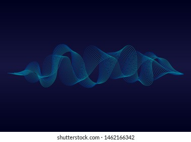 Abstract sound wave of music with wavy particles.Digital soundwave on blue background. music equalizer concept. vector background