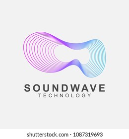 Abstract sound wave technology logo. Vector design with line art.