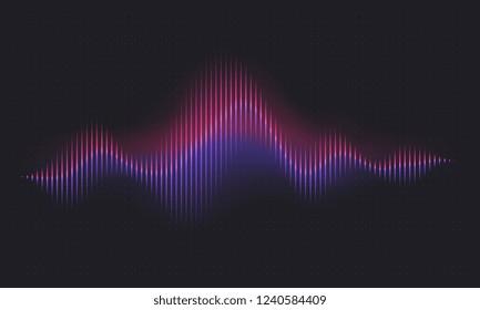 Abstract sound wave. Voice digital waveform, volume voice technology vibrant wave. Music sound energy vector background