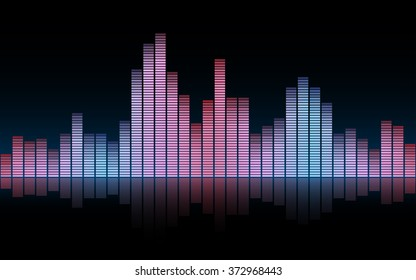 abstract sound waves in Rose Quartz and Serenity color and black backgrounds (vector)