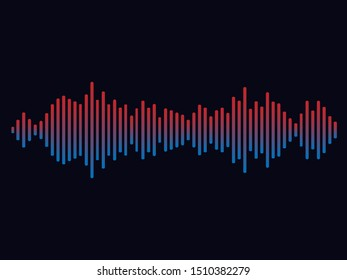 Abstract soundwave colorful track equlizer background. Audio player line of song. Digital abstract sound wave with gradient on black background. Horizontal vector illustration