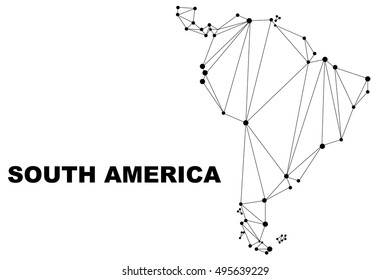 Abstract South America map lines connection. Vector illustration