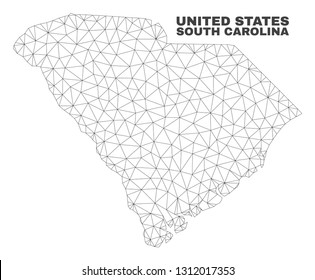 Abstract South Carolina State map isolated on a white background. Triangular mesh model in black color of South Carolina State map. Polygonal geographic scheme designed for political illustrations.
