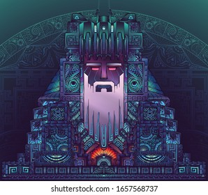 Abstract south-american conceptual art. Mystery colossus. Can use to a tattoo, poster typography, clothes printing, etc.