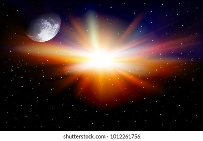 abstract space background with moon and stars vector illustration
