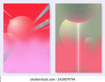 Abstract space odyssey - cosmic and planet shapes, sweet pastel background design. idea for poster, cover or card template, retro - futuristic style