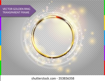 Abstract sparkling golden frame light effect on transparent background. Spark with ring glossy line.