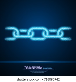 Abstract sparks light in form of metal chain links. Business particles mesh spheres from flying debris. Teamwork concept. Blue structure style line art vector illustration.