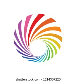 Abstract Spectrum Spiral Circle Logo Design Template