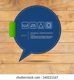 Abstract speech bubble of blue jeans texture on wooden texture background, Vector template design for banner product