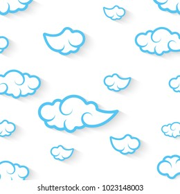 Abstract speech bubbles in the shape of clouds used in a social networks on light blue background. Cloud computing concept. Vector eps10 illustration
