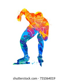 Abstract speed skaters from splash of watercolors. Vector illustration of paints.